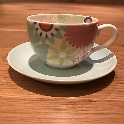 Portmeirion Breakfast Large Cup And Saucer Set - Crazy Daisy Pattern -