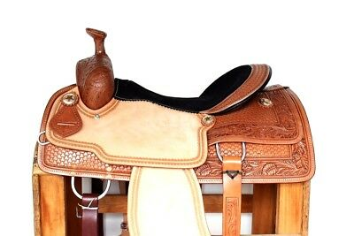 """16"""" Rough Out Western Rodeo Cutter Horse Pleasure Trail Leather Saddle Tack"""