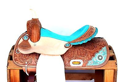 """13"""" Turquoise Beaded Rough Out Western Leather Trail Barrel Horse Saddle Tack"""