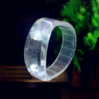Sound Controlled Voice LED Light Up Bracelet Activated Glow Flash Bangle Party
