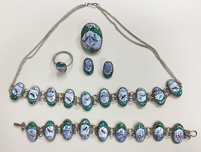 Persian Enamel Hand Painted Jewelry Set in Perfect condition (7494A)