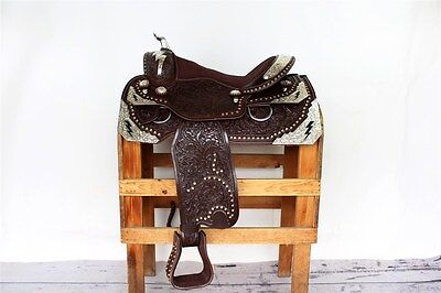 """Brown 16"""" Custom Montana Show Western Leather Silver Parade Trail Horse Saddle"""