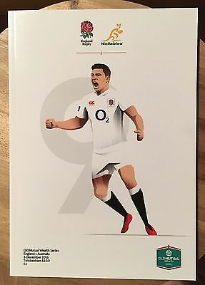England v Australia rugby programme 03/12/2016 Old Mutual international Twickers