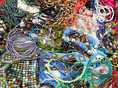 8 lbs of Beaded jewelry for Craft/Jewelry Design. Some loose beads.