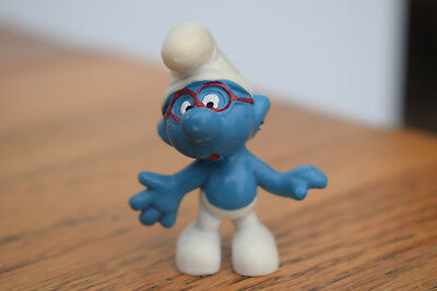 red glasses brainy smurf collectable collection retro toy original