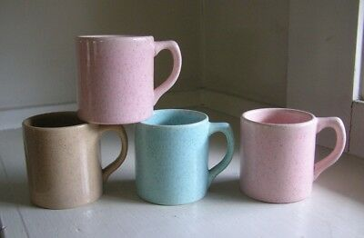 4 Bauer Pottery Speckled Mugs