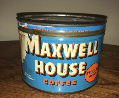 Vintage Maxwell House Coffee Can Tin Antique Advertising Display