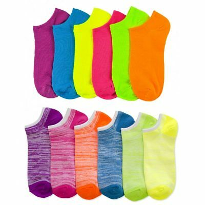 Lot Of 12 Women's Ladies No Show Neon Ankle Socks Sports Multi Color Size 9-11 !