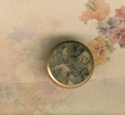 Victorian Mounted Round Dendritic Agate Gemstone Stud Button