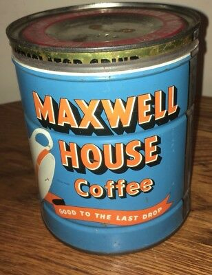 Vintage Maxwell House 2 Pound Coffee Can Tin Antique Advertising Display