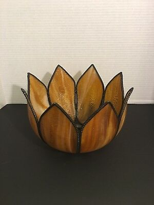Vintage Tulip Lamp Shade Brown Stained Glass