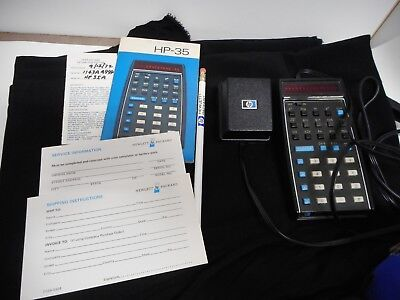 Vintage 1972 Hewlett Packard HP 35 35A ? Calculator with Manual and Power Cord