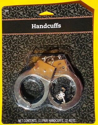 POLICE HANDCUFFS (1) BRAND NEW SILVER Standard Chain Link Handcuffs With  2 Keys