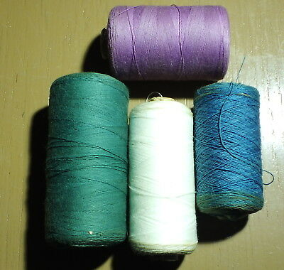 4 large spools VINTAGE TACKING THREAD 4 shades Green, Mauve, Off-white, Blue