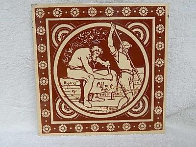 "Antique Mintons Tile John Moyr Industrial Trades The Tanner Rare Large 8"" x 8"""