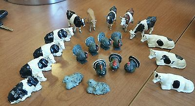 Scale Lot Of 21 Britians Metal Hand-Painted Farm Animals Cows Turkey Sheep