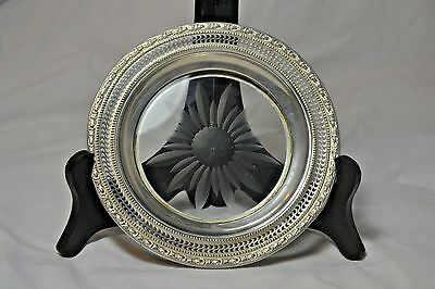Antique Sterling Silver Tailsman Rose Crystal Wine Coaster Frank M. Whiting Co.