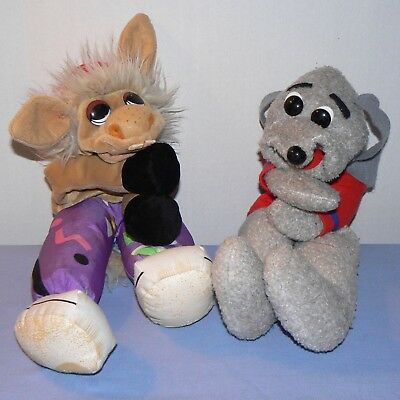 Shari Lewis puppet lot of 2 Charlie Horse Hush Puppy dog 1993 vintage Lambchop