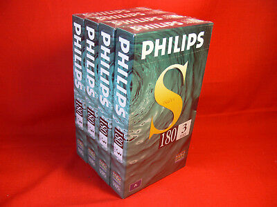 4 x PHILIPS E180 Blank VHS Video Tapes, 3 Hour, Made in Europe - NEW & UNOPENED