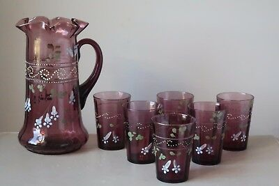 Antique Victorian Amethyst Purple Glass Hand Painted Enamel Pitcher Tumbler Set