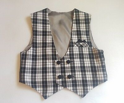 Black and White plaid checkered cotton blend vest size 6T  LIMITED IN STOCK