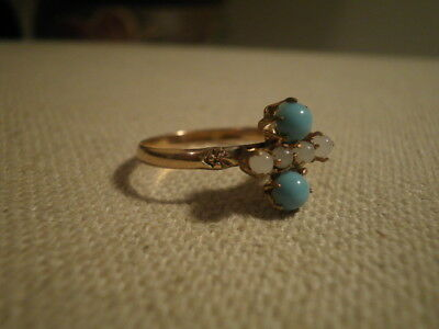 ANTIQUE EDWARDIAN TURQUOISE / SEED PEARL 10K Yellow Gold RING Size -7.5