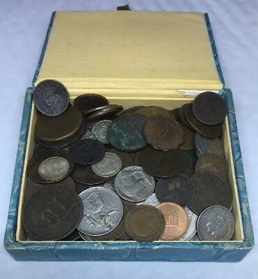 Box Of Old Coins Containing 890 Grams Of World Coins***Collectors***