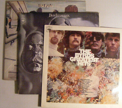 THE BYRDS 3 Long Playing UK CBS LPs:  Untitled - Byrdmaniax - Greatest Hits