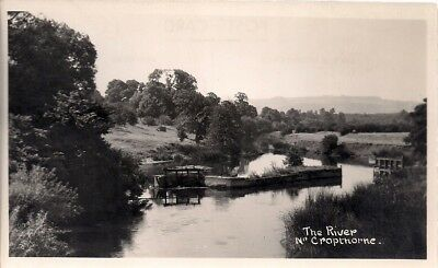 SUPERB OLD REAL PHOTO POSTCARD - THE RIVER near CROPTHORNE WORCESTERSHIRE C.1945
