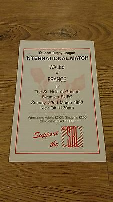 Wales v France 1992 Student Rugby League Programme