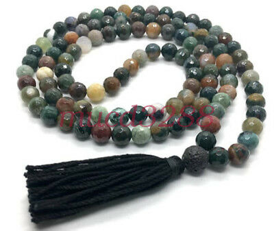 108 Bead Faceted Jasper Mala Meditation Necklace Elastic Bracelet Black Tassel