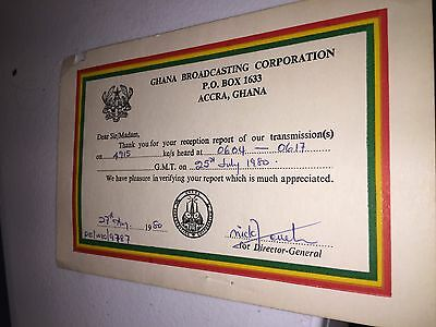 QSL RADIO GHANA Broadcasting Corporation Accra Ghana Africa 1980 signed DX  SWL