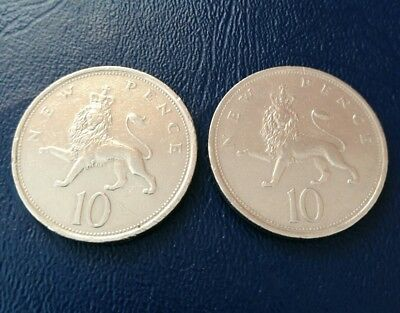 Old New 10 pence pieces x2  1975