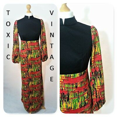 VINTAGE 1970's GEOMETRIC PRINT MAXI DRESS 12 RETRO CHIC PARTY FESTIVAL DISCO