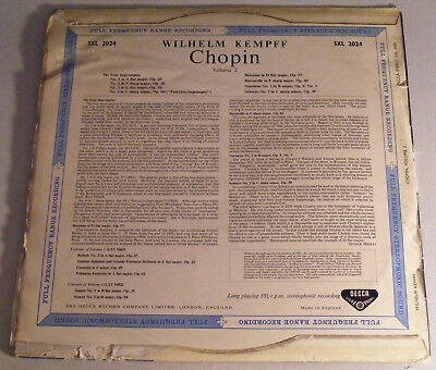 KEMPFF Chopin Volume 2 UK Decca SXL 2024 Blue Back 1950s LP