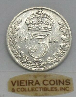 1914 Great Britain Silver 3 Pence, Free Shipping - #9904