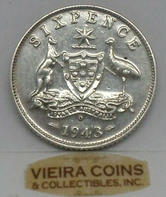 1943-D Australia Silver SixPence, Free Shipping - #9905