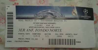 Ticket For Collectors: Champions League Real Madrid - Tottenham Hotspur 17/10/17