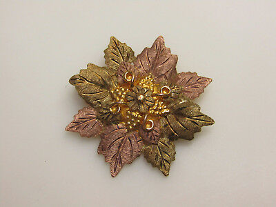 10k Yellow Gold Jewelry Flower Pin Brooch Pink Green Coating For Repair