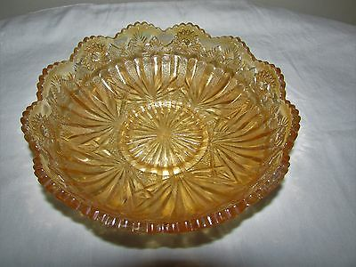 Antique Millersburg Carnival Glass Marigold Rays & Ribbons/Cactus Ice Cream Bowl