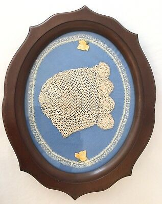 Vintage Hand Crochet Baby Bonnet Wood Frame Under Glass.