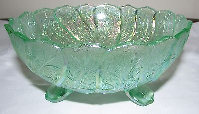 Vintage Imperial Acanthus Leaf Ice/Meadow Green Vaseline Carnival Glass Bowl