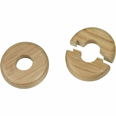 2 X 15mm SOLID OAK COLOUR WOODEN WOOD RADIATOR PIPE COLLARS COVER FLOOR EASY FIT