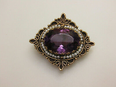 14k Yellow Gold Jewelry Pin Brooch Pendant Purple Stone Small Pearl Accents