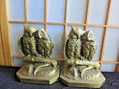 Vintage Brass Owl Bookends Couple Figurines PM Craftsman USA