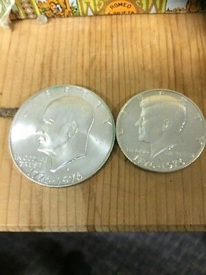 USA 1976 Dollar And Fifty Cent 40% Silver Version