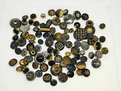 "Antique GLASS BUTTON Lot PAISLEYS, INCISED, LUSTERS, WHISTLE  1/2"" TO 7/8"""