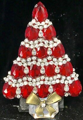 Exquisite! Red Glass Vintage  Rhinestone Christmas Tree Pin Brooch Signed LaHeir