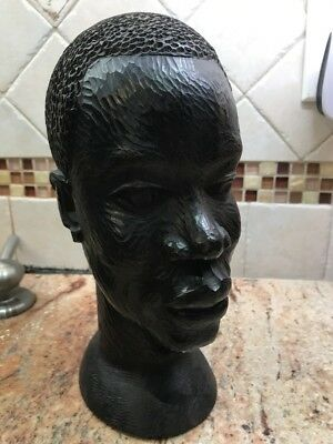 "VTG Antique 9"" African Ebony Wood Sculpture Statue Hand Carved Head 4 lb."