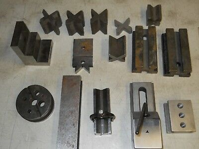 Mixed lot of Machinist V-Blocks, Angle Plate, Sm. Vise & Bench Blocks   used